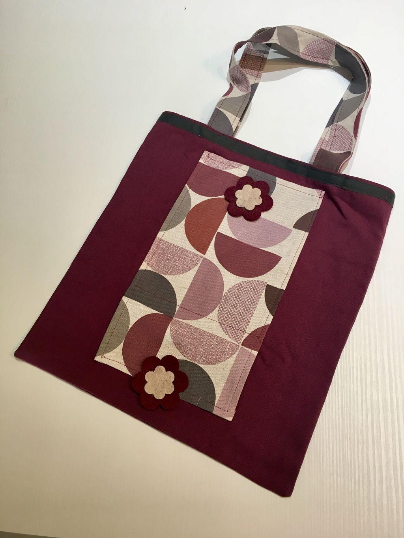 Shopping Bag viola disegni geometrici - Shopping Bag viola disegni geometrici