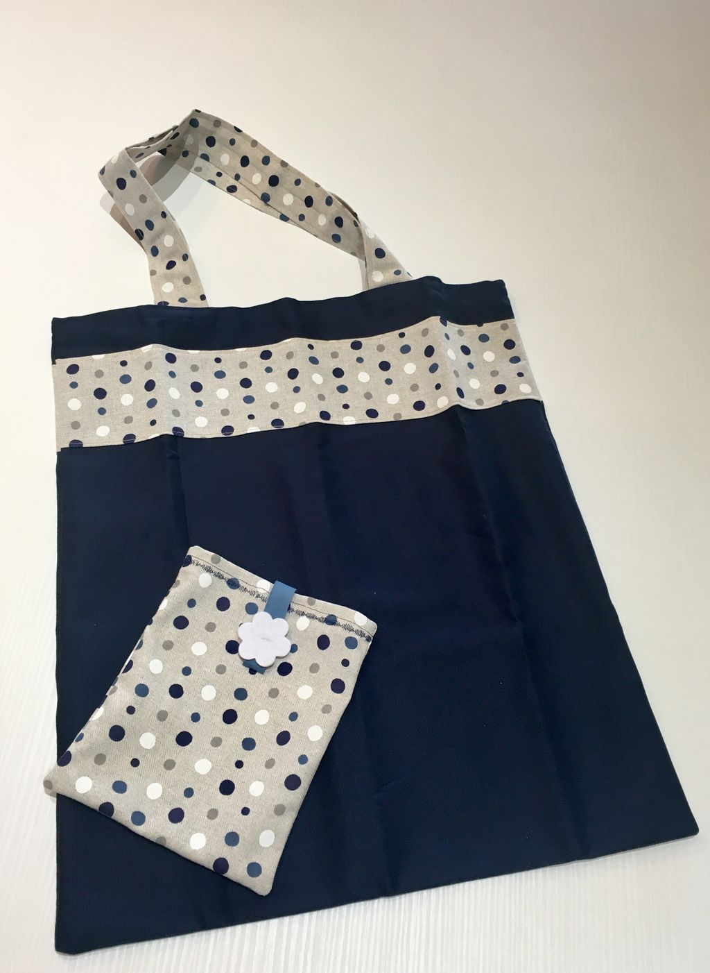 Shopping Bag blu con banda a pois - Shopping Bag blu con banda a pois