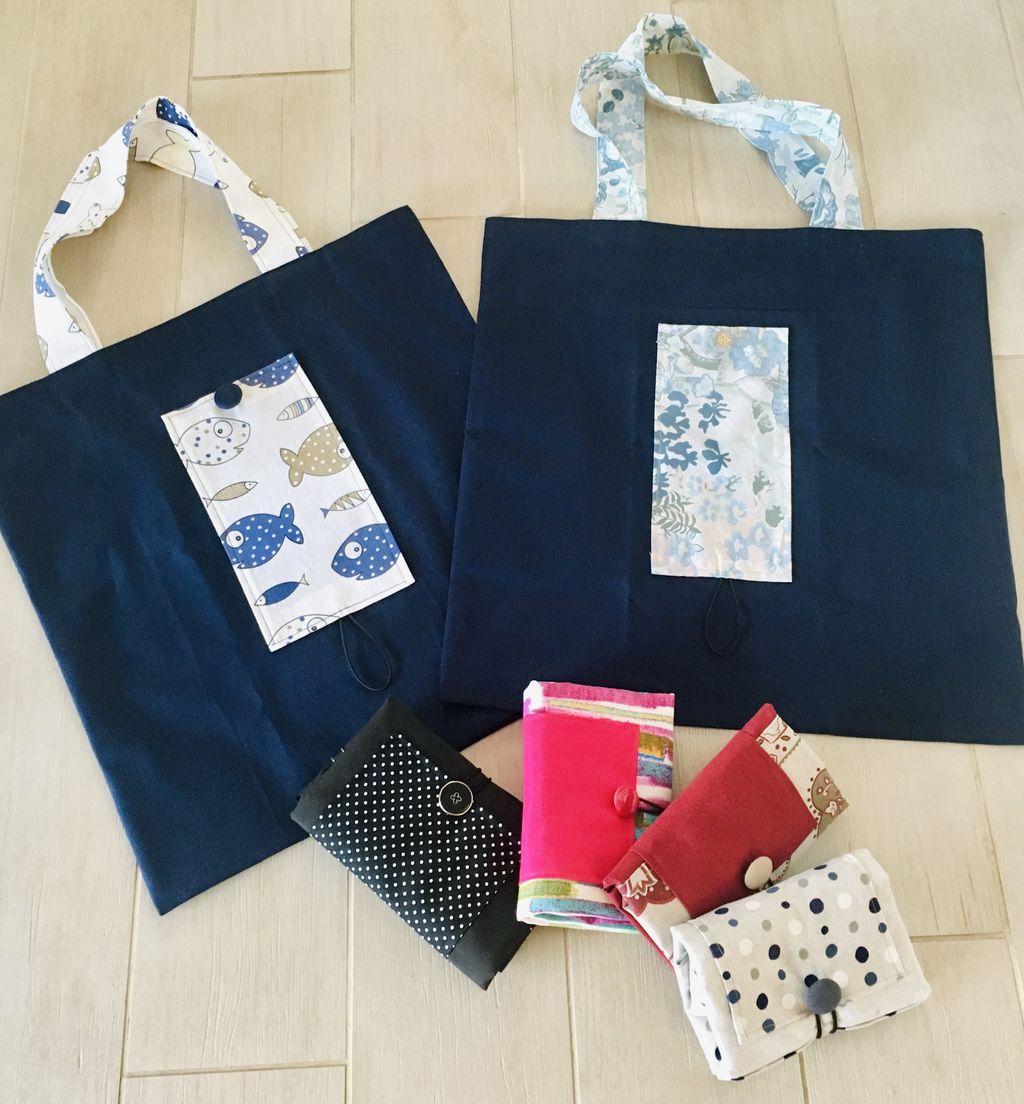 Shopping Bag blu con pesciolini - Shopping Bag blu con pesciolini
