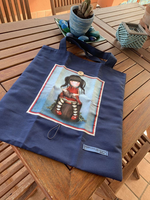 Shopping Bag Santoro Gorjuss blu - Shopping Bag Santoro gorjuss